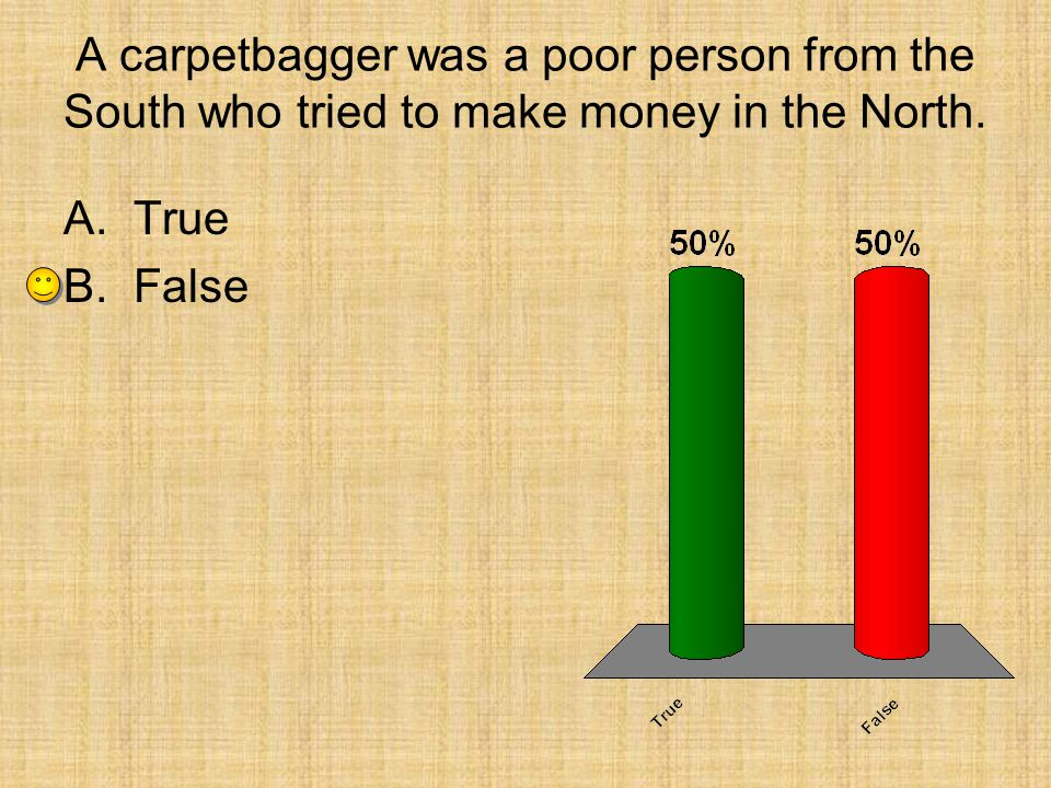 A carpetbagger was a poor person from the South who tried to make money in the North.