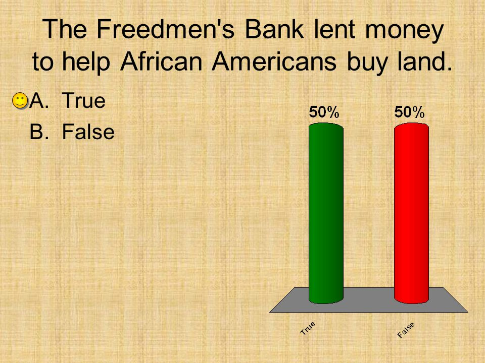 The Freedmen s Bank lent money to help African Americans buy land.