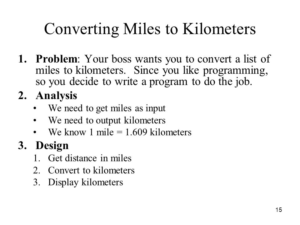 Converting Miles to Kilometers