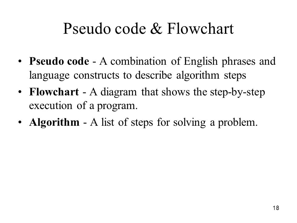 Pseudo code & Flowchart