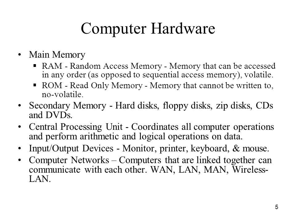 Computer Hardware Main Memory