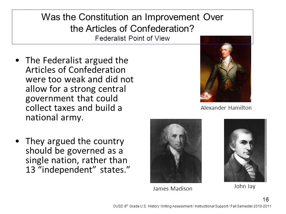 An assessment of the articles of confederation