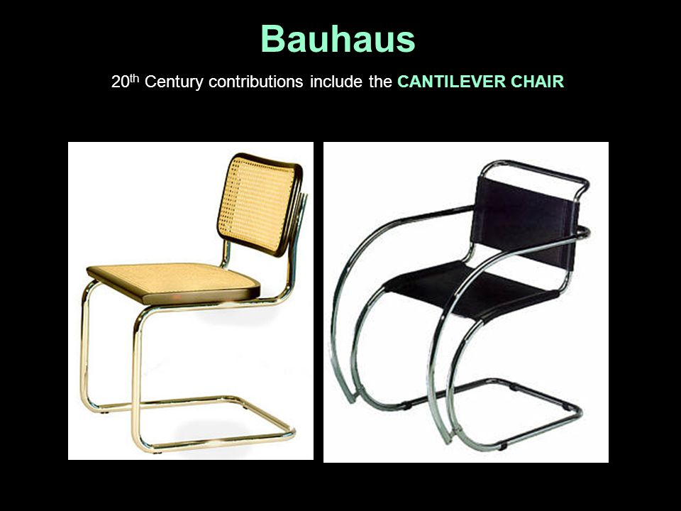 20th Century contributions include the CANTILEVER CHAIR