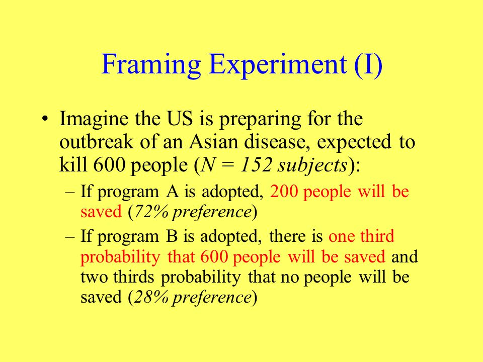 Framing Experiment (I)