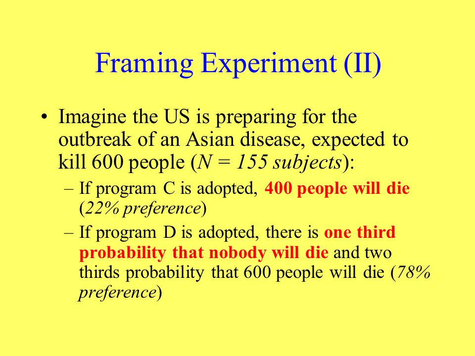 Framing Experiment (II)