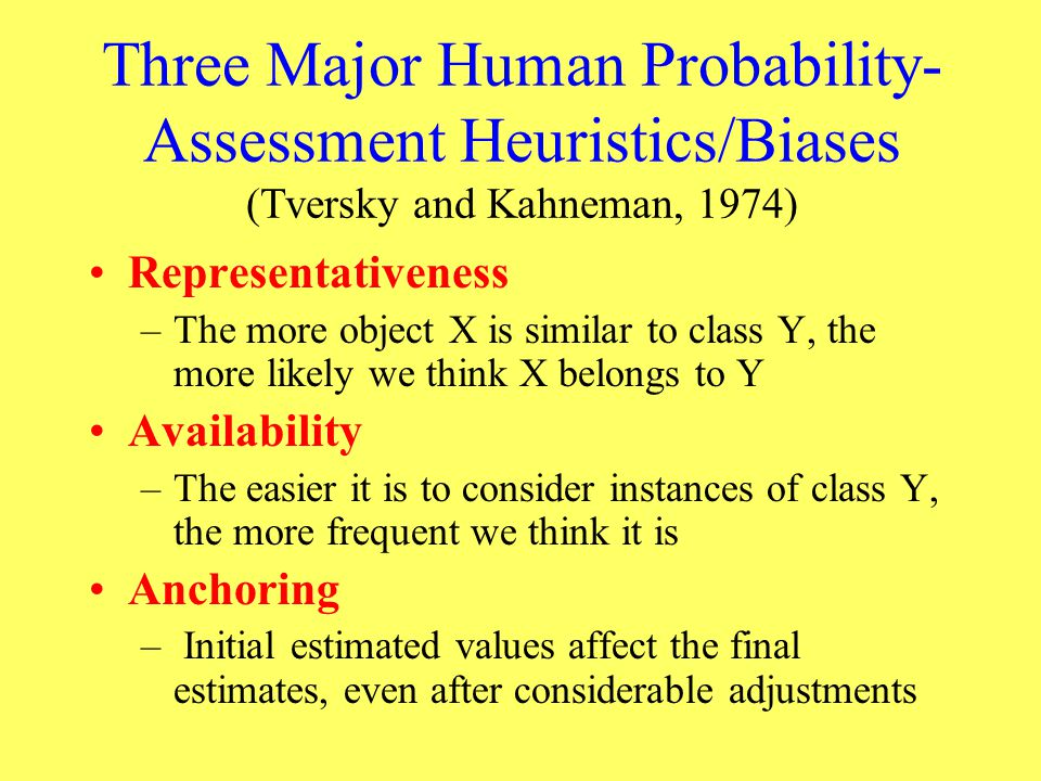 Three Major Human Probability-Assessment Heuristics/Biases (Tversky and Kahneman, 1974)