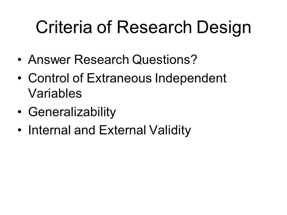 Criteria of Research Design