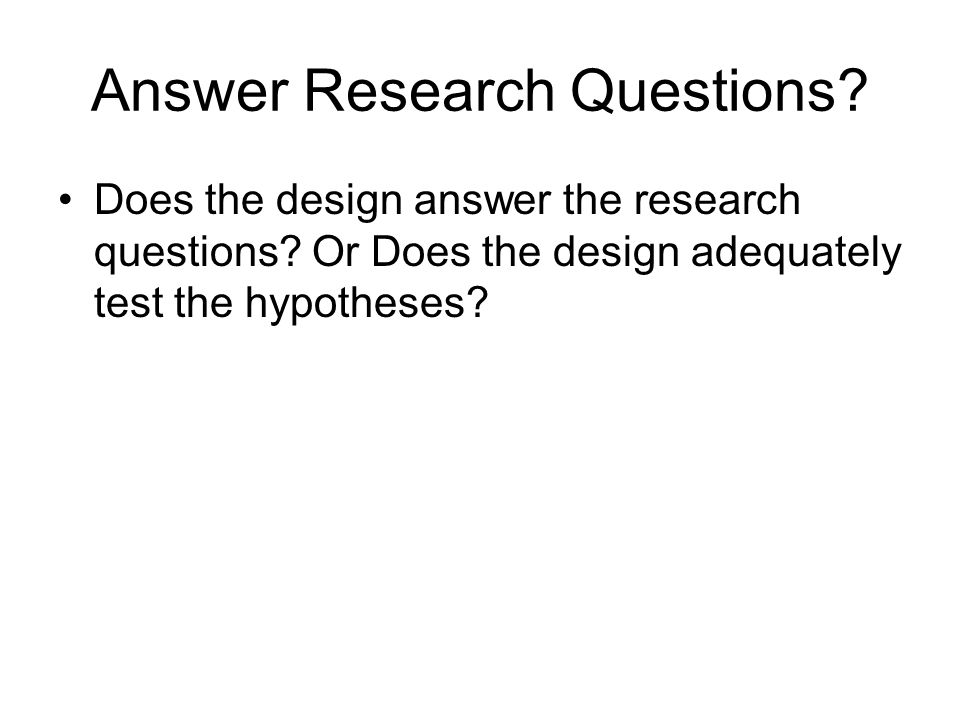 Answer Research Questions