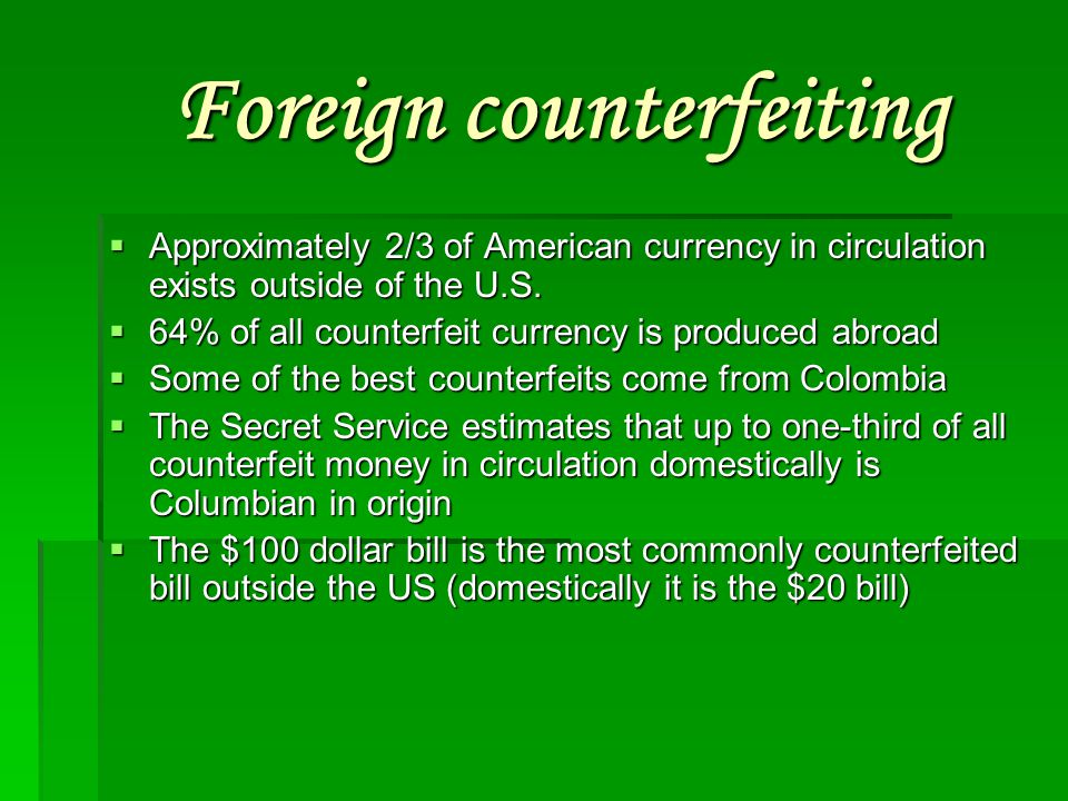 Foreign counterfeiting