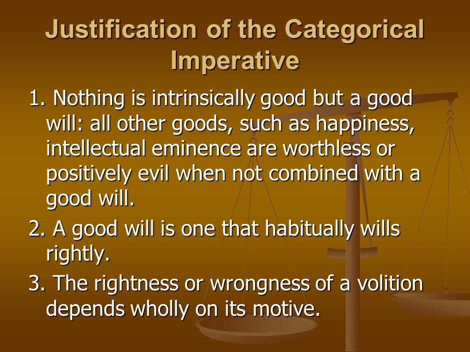 Justification of the Categorical Imperative