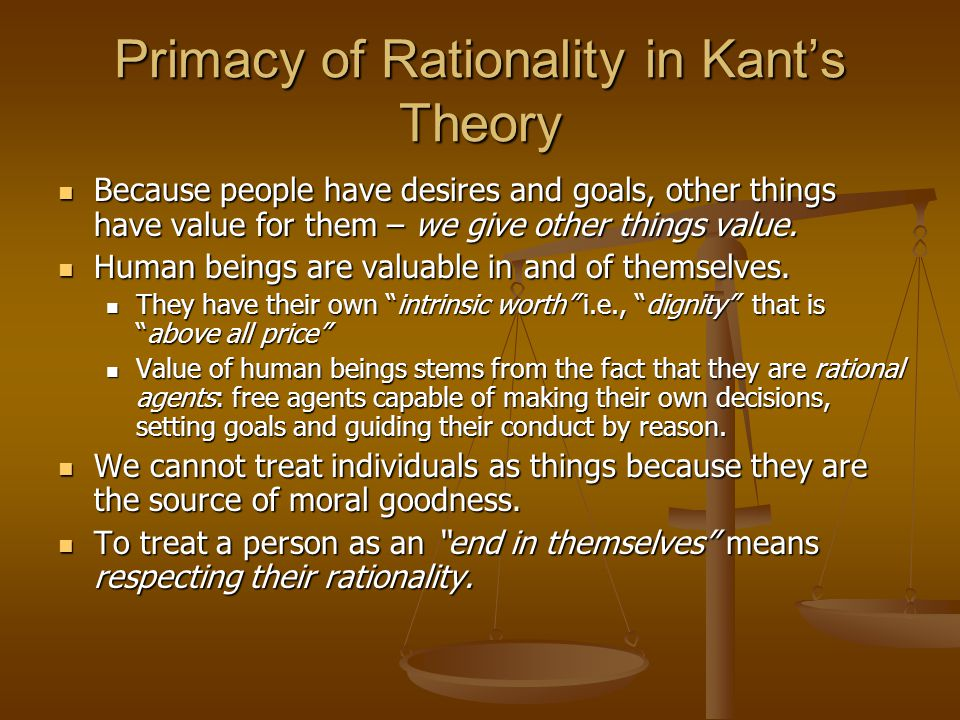 Primacy of Rationality in Kant's Theory