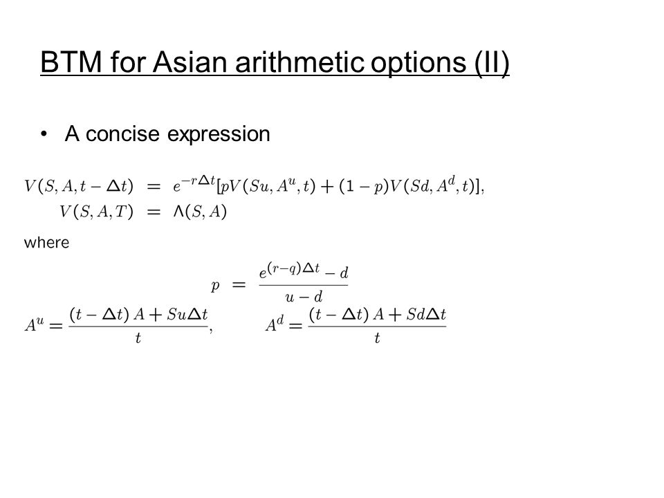 BTM for Asian arithmetic options (II)