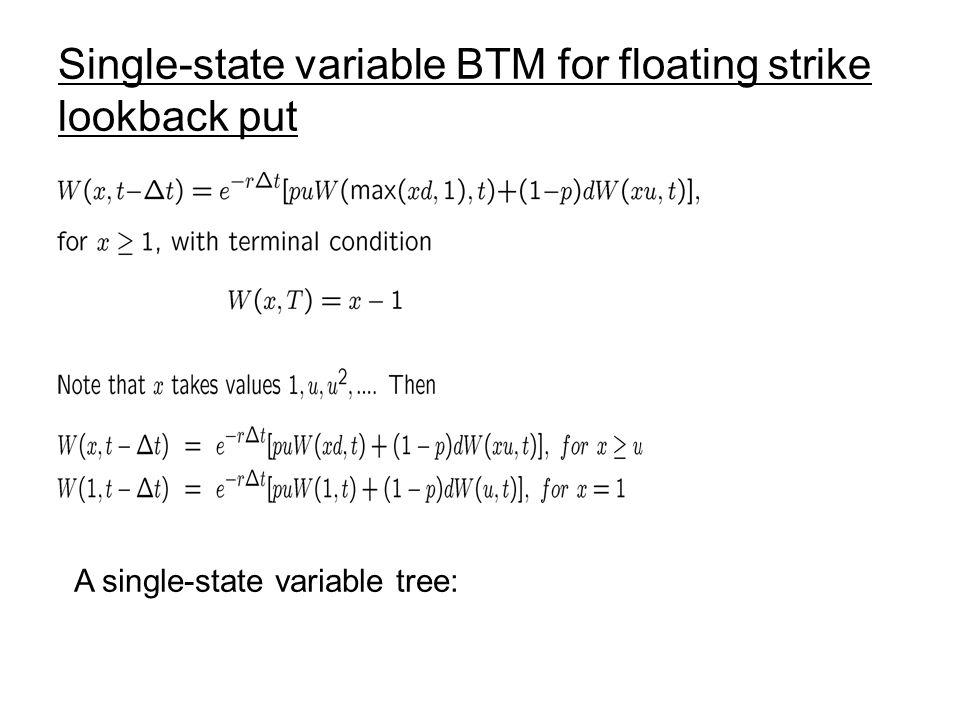 Single-state variable BTM for floating strike lookback put
