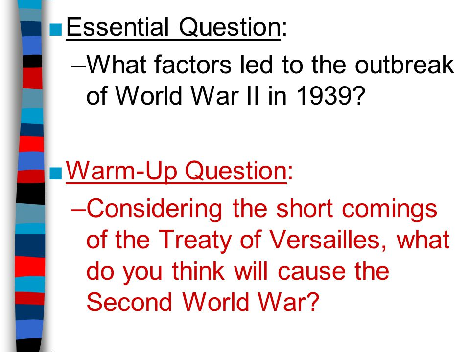 an analysis of the factors that lead to the second world war Wikimedia commons has media related to causes of world war ii france, germany and the struggle for the war-making natural resources of the rhineland explains the long term conflict between germany and france over the centuries, which was a contributing factor to the world wars.