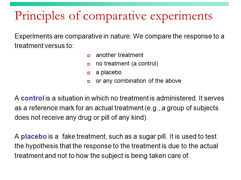 Principles of comparative experiments
