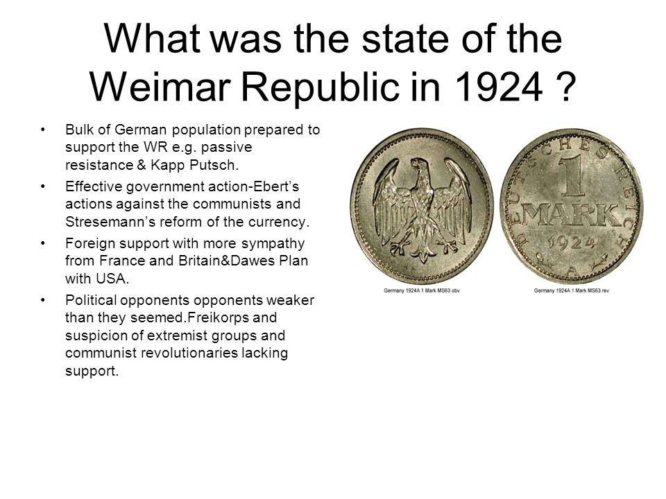 What was the state of the Weimar Republic in 1924