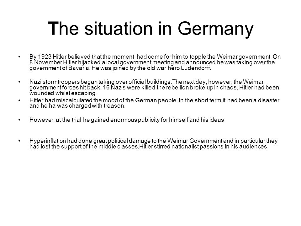 The situation in Germany