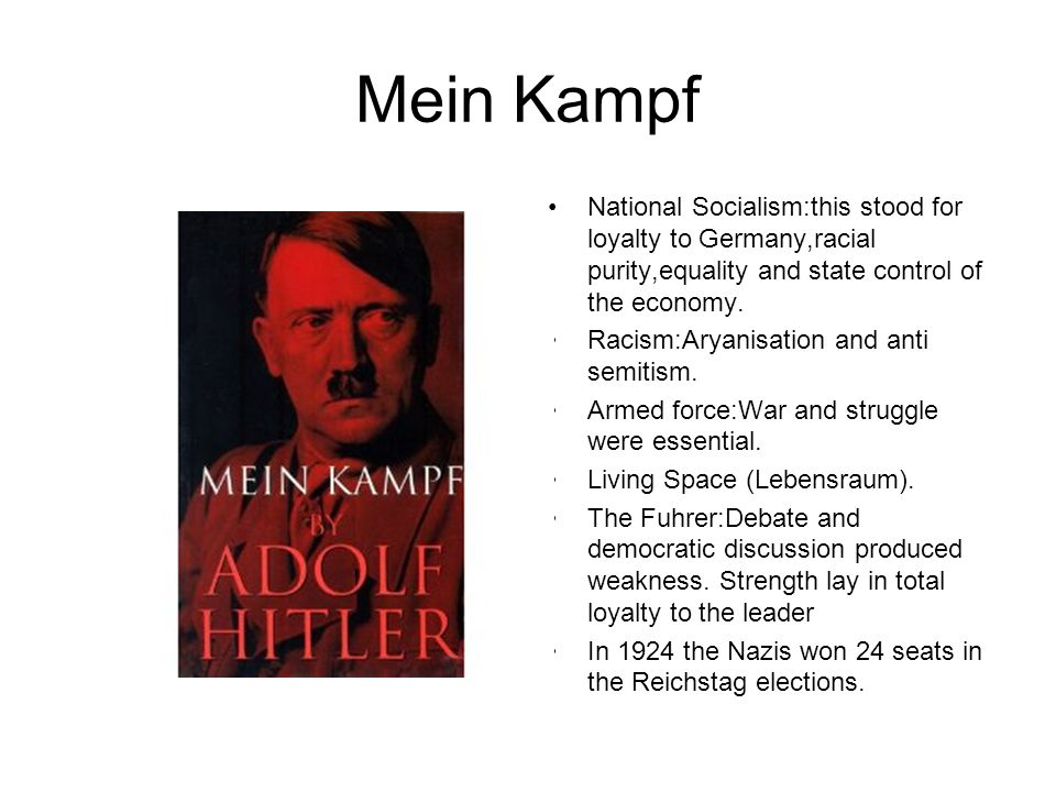 Mein Kampf National Socialism:this stood for loyalty to Germany,racial purity,equality and state control of the economy.