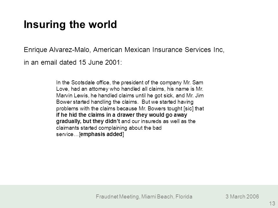 Fraudnet Meeting, Miami Beach, Florida