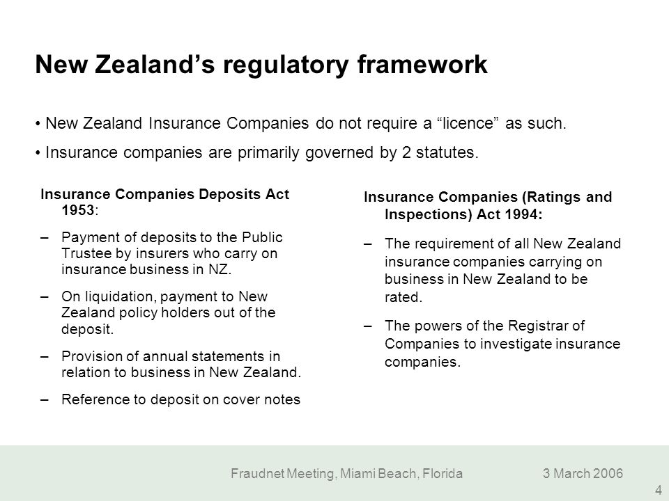 New Zealand's regulatory framework