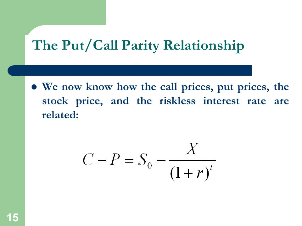 The Put/Call Parity Relationship
