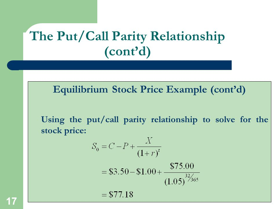 The Put/Call Parity Relationship (cont'd)