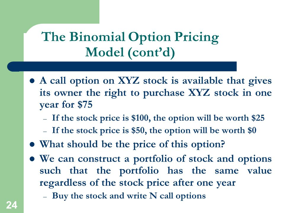 The Binomial Option Pricing Model (cont'd)