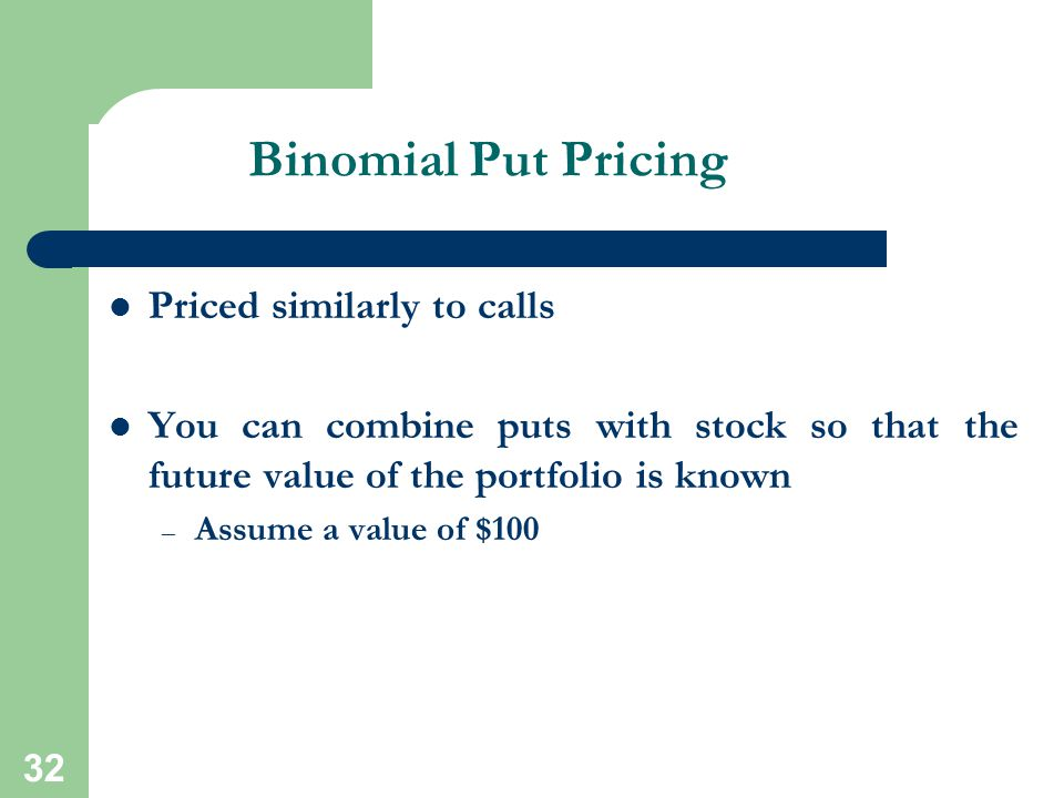 Binomial Put Pricing Priced similarly to calls