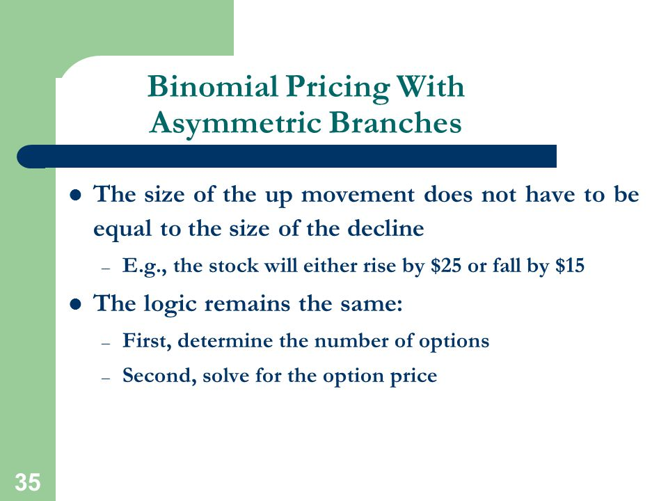 Binomial Pricing With Asymmetric Branches