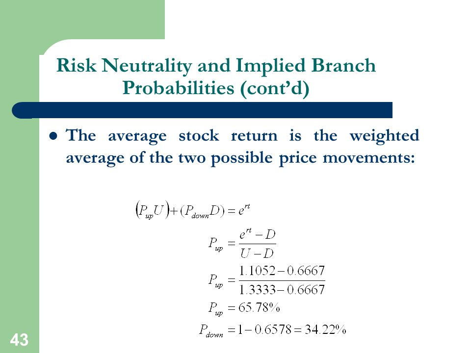 Risk Neutrality and Implied Branch Probabilities (cont'd)