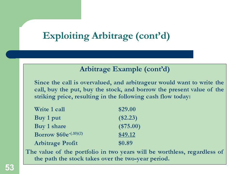 Exploiting Arbitrage (cont'd)