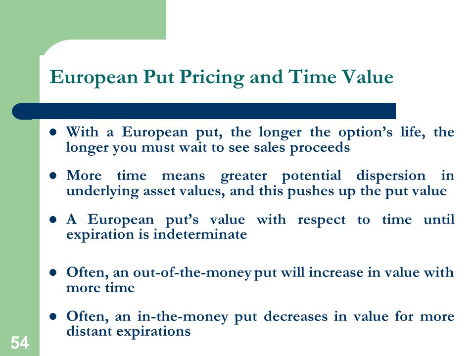 European Put Pricing and Time Value