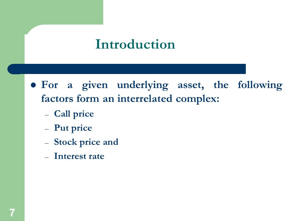 Introduction For a given underlying asset, the following factors form an interrelated complex: Call price.