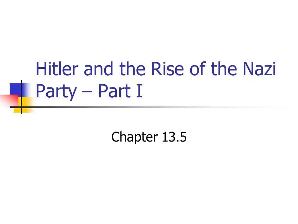Hitler and the Rise of the Nazi Party – Part I