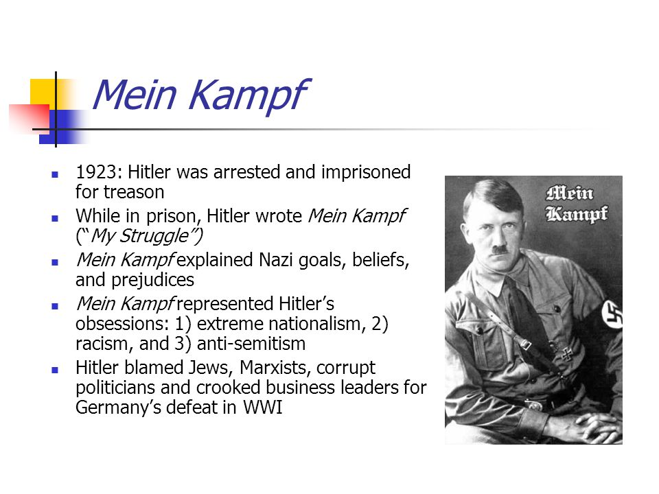 Mein Kampf 1923: Hitler was arrested and imprisoned for treason