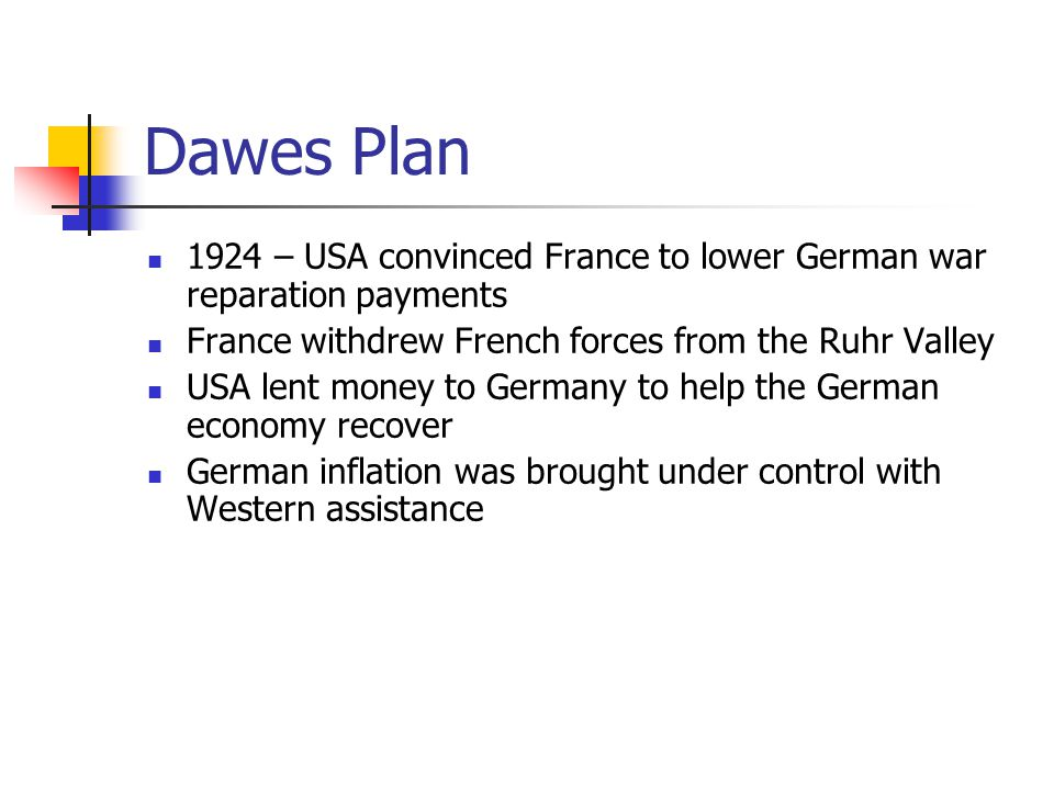 Dawes Plan 1924 – USA convinced France to lower German war reparation payments. France withdrew French forces from the Ruhr Valley.