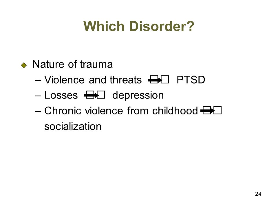 Which Disorder Nature of trauma – Violence and threats 􀃆 PTSD