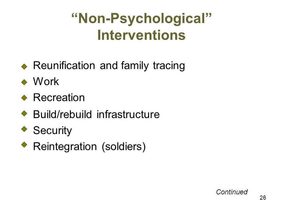 Non-Psychological Interventions