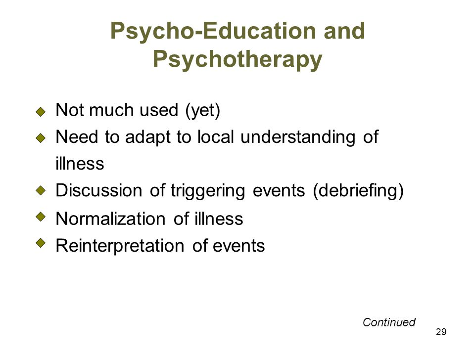 Psycho-Education and Psychotherapy