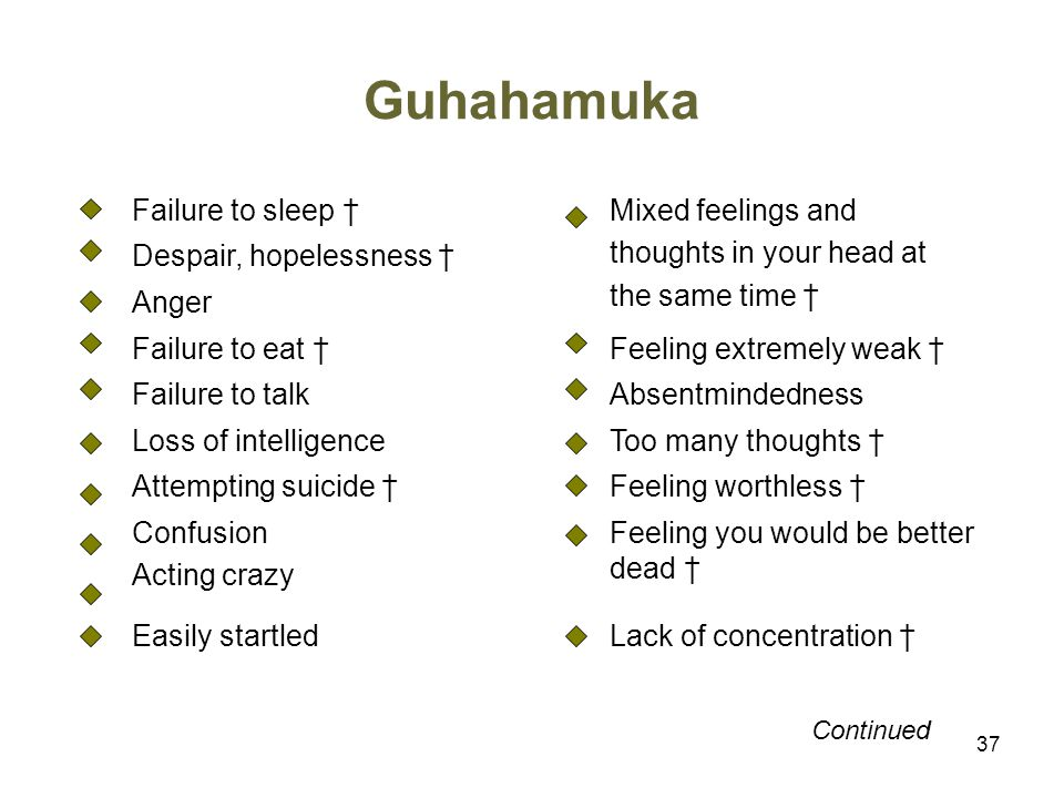Guhahamuka Failure to sleep † Mixed feelings and