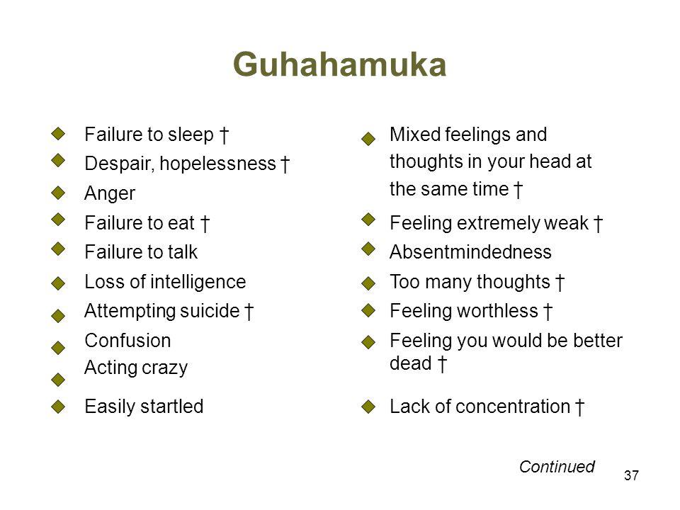 Guhahamuka Failure to sleep † Mixed feelings and