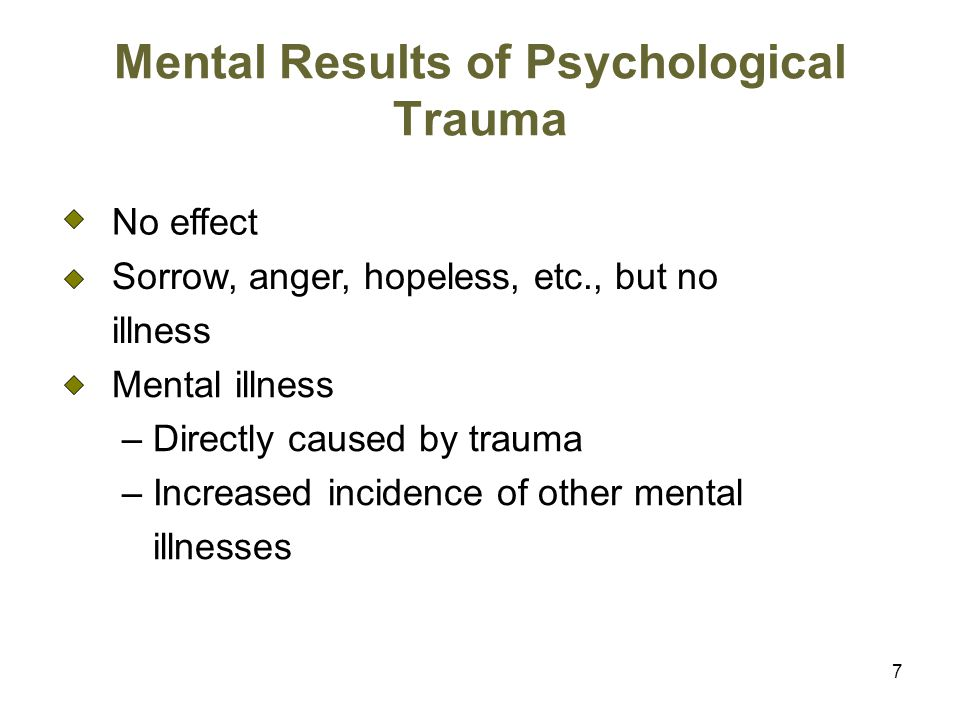 Mental Results of Psychological Trauma