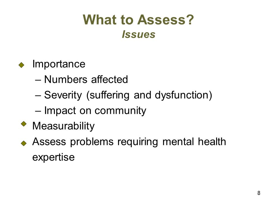 What to Assess Issues Importance – Numbers affected