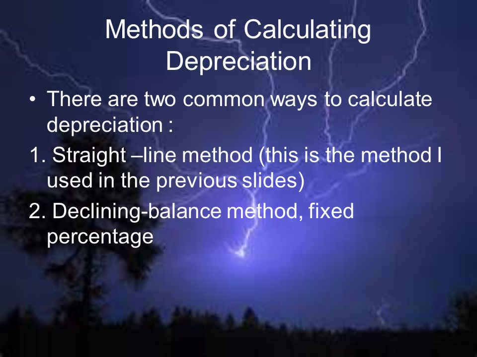 Methods of Calculating Depreciation