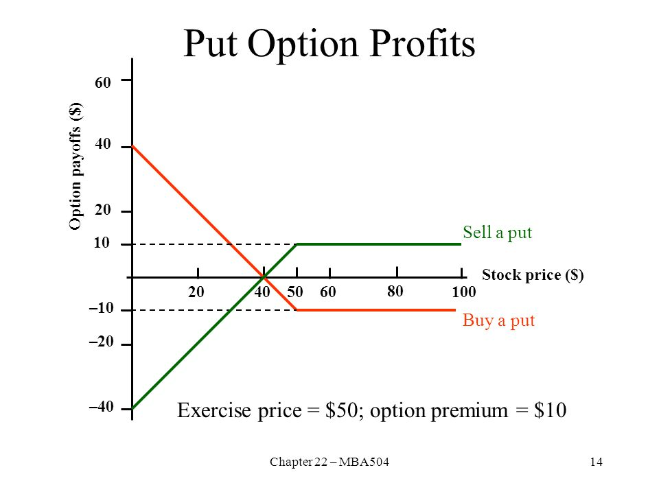 Put Option Profits Exercise price = $50; option premium = $10