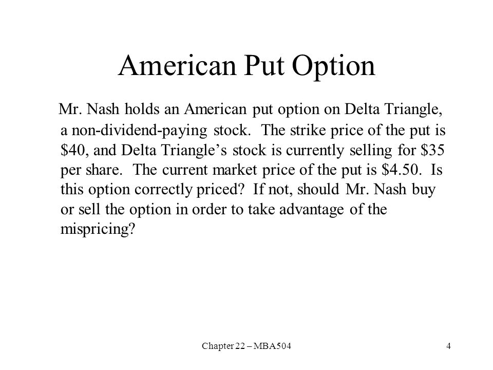 American Put Option