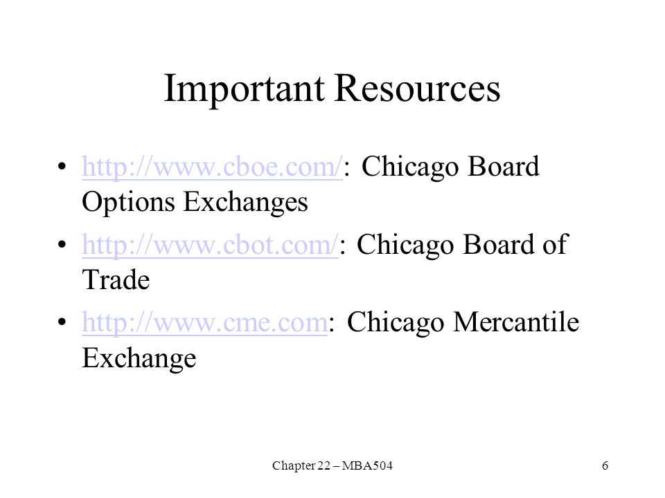 Important Resources http://www.cboe.com/: Chicago Board Options Exchanges. http://www.cbot.com/: Chicago Board of Trade.