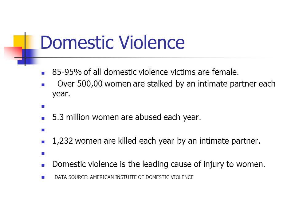 Domestic Violence 85-95% of all domestic violence victims are female.