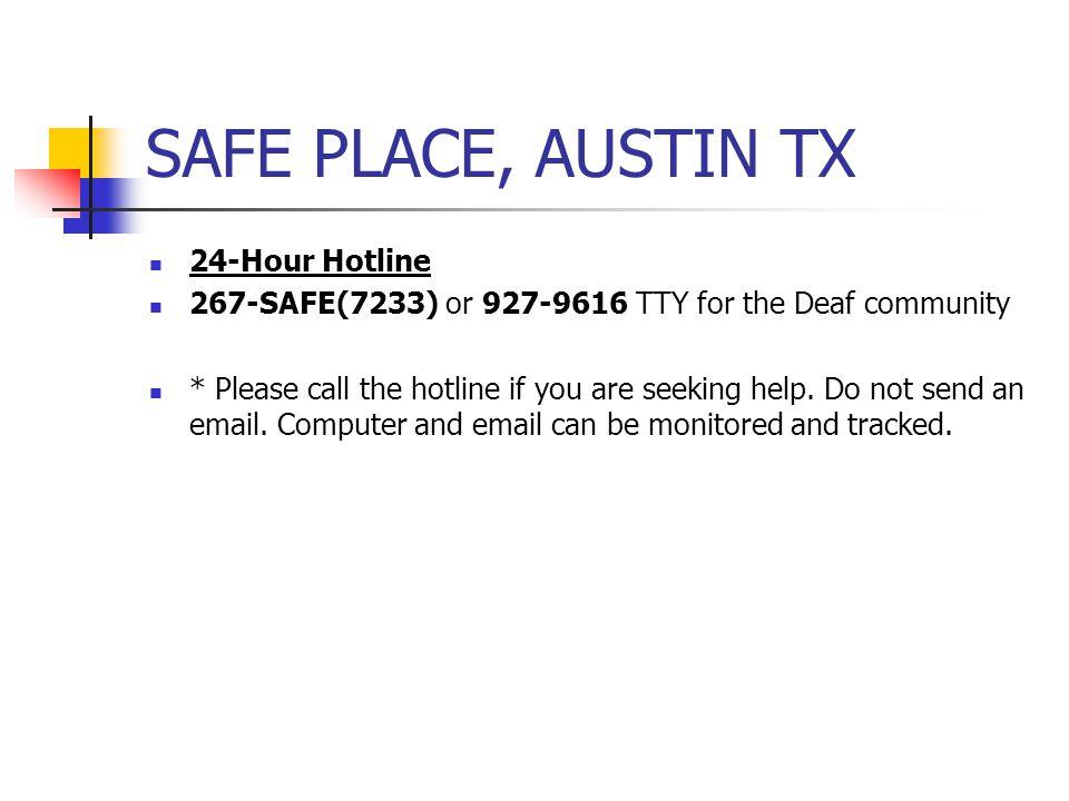 SAFE PLACE, AUSTIN TX 24-Hour Hotline