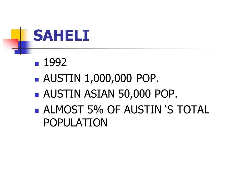 SAHELI 1992 AUSTIN 1,000,000 POP. AUSTIN ASIAN 50,000 POP.